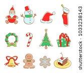 vector christmas icon set. | Shutterstock .eps vector #1033238143