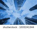 double exposure business... | Shutterstock . vector #1033241344