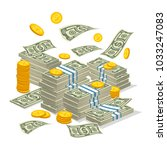 big money stack isometric... | Shutterstock .eps vector #1033247083