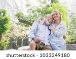 happy old elderly caucasian... | Shutterstock . vector #1033249180