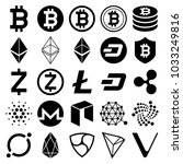 cryptocurrency icons. vector... | Shutterstock .eps vector #1033249816