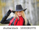 girl in cowboy hat  | Shutterstock . vector #1033281970