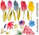 watercolor flowers  raster | Shutterstock . vector #1033289080