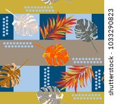 seamless pattern with tropical... | Shutterstock .eps vector #1033290823
