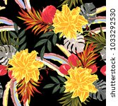 tropical seamless floral... | Shutterstock .eps vector #1033292530