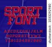 sport alphabet vector font.... | Shutterstock .eps vector #1033292980