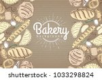 bakery background. top view of... | Shutterstock .eps vector #1033298824