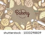 bakery background. top view of... | Shutterstock .eps vector #1033298839