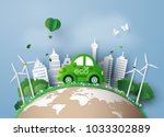 eco friendly car in the city... | Shutterstock .eps vector #1033302889