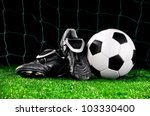 soccer ball and cleats on the... | Shutterstock . vector #103330400