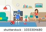 robot humanoid cleaning room...   Shutterstock .eps vector #1033304680