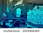 blue circuit board background... | Shutterstock . vector #1033306369