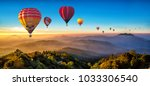 colorful hot air balloons... | Shutterstock . vector #1033306540