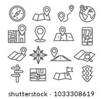 navigation and map line icons... | Shutterstock .eps vector #1033308619