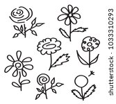 flower icon set. hand drawn... | Shutterstock .eps vector #1033310293