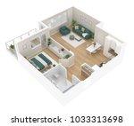 floor plan top view. apartment... | Shutterstock . vector #1033313698