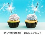 birthday cupcake with a... | Shutterstock . vector #1033324174