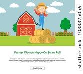 farmer woman happy on straw... | Shutterstock .eps vector #1033325056