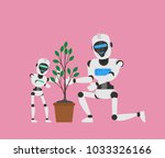 big and small robots planting a ...   Shutterstock .eps vector #1033326166