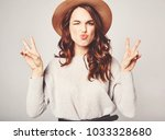 portrait of young stylish... | Shutterstock . vector #1033328680