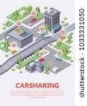 isometric carsharing city map... | Shutterstock .eps vector #1033331050