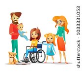 family and handicapped child... | Shutterstock .eps vector #1033331053