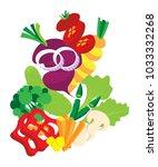 vegetables set background.... | Shutterstock .eps vector #1033332268