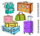 colorful sticker  set suitcase  ... | Shutterstock .eps vector #1033333009
