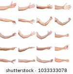 set of man hands isolated on... | Shutterstock . vector #1033333078