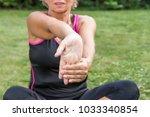 senior woman is showing...   Shutterstock . vector #1033340854