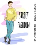 fashion man vector illustration.... | Shutterstock .eps vector #1033341508
