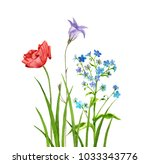 bouquet of watercolor drawing... | Shutterstock . vector #1033343776
