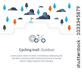 outdoor biking  trail map with... | Shutterstock .eps vector #1033345879