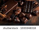 assortment of dark  white and... | Shutterstock . vector #1033348318