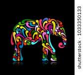 elephant ornate  sketch for... | Shutterstock .eps vector #1033350133