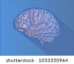 low poly wireframe brain... | Shutterstock .eps vector #1033350964