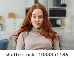 pretty young redhead woman... | Shutterstock . vector #1033351186