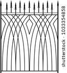 wrought iron gate  ornamental... | Shutterstock .eps vector #1033354858