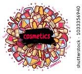 cosmetic label doodle vector...   Shutterstock .eps vector #1033356940