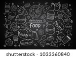 set of hand drawn food isolated ... | Shutterstock .eps vector #1033360840
