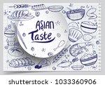 cartoon cute hand drawn japan... | Shutterstock .eps vector #1033360906