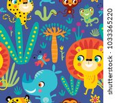 seamless pattern with cute... | Shutterstock .eps vector #1033365220