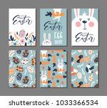 happy easter greeting card with ... | Shutterstock .eps vector #1033366534