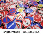 background of many road signs.... | Shutterstock . vector #1033367266