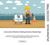construction worker holding... | Shutterstock .eps vector #1033367980