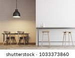 white wall dinner interior with ... | Shutterstock . vector #1033373860