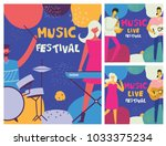 colorful music festival posters ... | Shutterstock .eps vector #1033375234