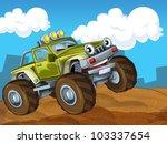 off road cartoon car - stock photo