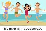 happy children in bathing suits ... | Shutterstock .eps vector #1033380220