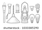 set lighting object. torch ... | Shutterstock .eps vector #1033385290